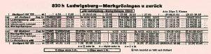 Fahrplan von 1958 für 320h