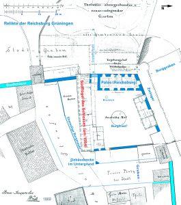 Burg-Relikte auf Lageplan (groß)