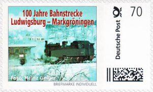 AGD-Briefmarke 100 Jahre Bahnstrecke Ludwigsburg-Markgröningen