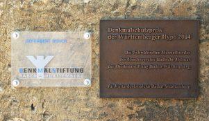 Plakette zum Denkmalschutzpreis