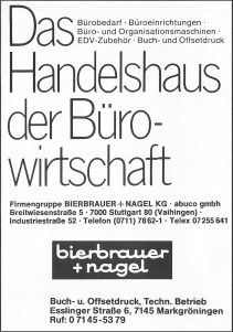 Anzeige Bierbrauer & Nagel