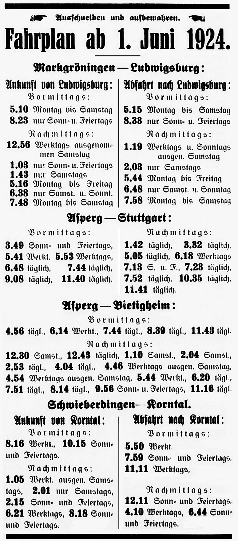 Zugfahrplan 1924