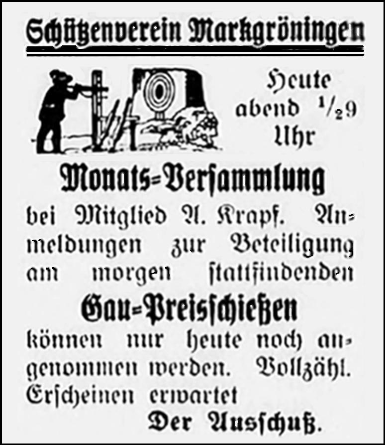 Anzeige Schützenverein